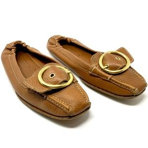 Coach Nellie Pebbled Leather Loafers Flats Cognac